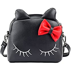 a02ea5f60a8 Cat Handbag Adorable Bow Cat Purse for Toddler Kids Girls 2-in-1 Crossbody