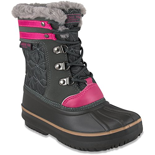 London Fog Girls Chiswick Cold Weather Snow Boot GREY Size (Ugh Boots Kids)