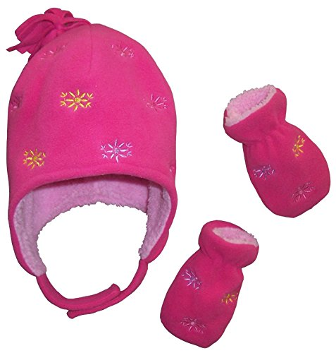Fuchsia Embroidery - N'Ice Caps Girls Sherpa Lined Micro Fleece Set with Flowers Embroidery (6-12 Months, Fuchsia)