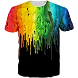 EOWJEED Unisex Stylish Casual Design 3D Colored Print Short Sleeve T Shirts Tees - Large