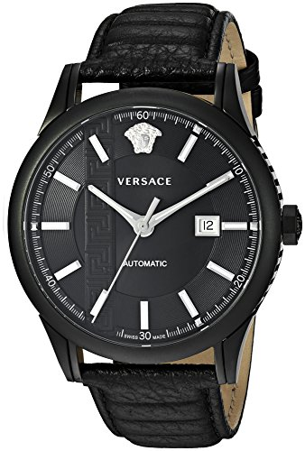 Versace Men's 'AIAKOS' Swiss Automatic Stainless Steel and Leather Casual Watch, Color:Black (Model: V18030017)