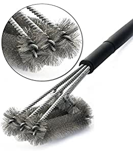 "Kiddy Kitchen Premium BBQ Grill Brush - 18"" Barbecue Grill Cleaner - 3 Stainless Steel Brushes - Perfect for Char-Broil, Weber, Porcelain and Infrared Grills - Handy Bag"