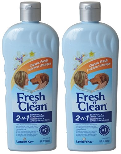 Fresh N Clean 2 Pack of Classic Fresh Scent 2-in-1 Conditioning Shampoo for Pets, 18-Ounces Per ()