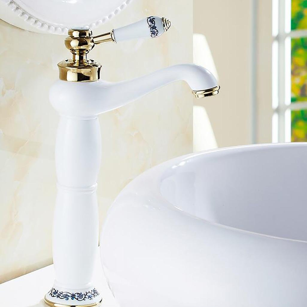 High FCSHLT Sink Mix Taps Ceramic Valve Single Handle One Hole for Antique Brass Bathroom Sink Faucet, Short