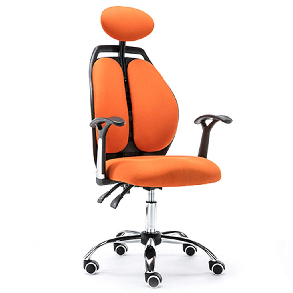 Comfortable and Breathable Backrest Chair, Ergonomic Design, Multi-Function Headrest, Thick Sponge Pad, Suitable for Office Workers, Orange