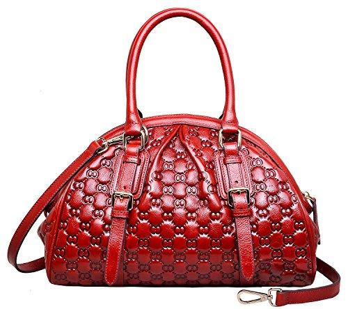 PIJUSHI Top Handle Satchel Handbags Womens Shoulder Purse Floral Handbag (N6833 red)