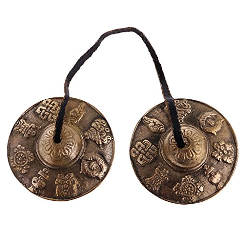 Jili Online Handcrafted Tibetan Meditation Tingsha Cymbal Bell with Buddhist Lucky Symbols 2.5 inch by Jili Online