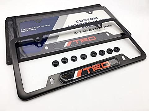 TRD Toyota Lexus Scion Gazoo Racing JDM Ultra Premium License Plate Frame Kit (AP Creations Exclusive) Gloss JET BLACK Finish Hardware Hiding Covers Caps & Round Spacers Included with Instructions