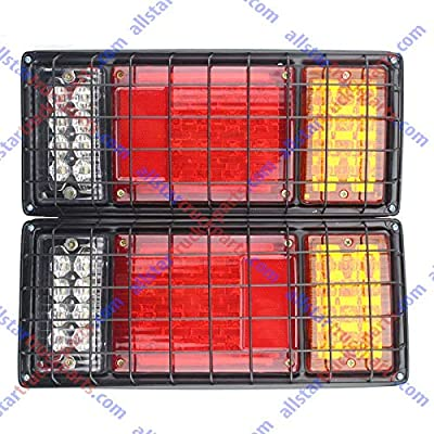 2Pcs LED Truck Trailer Tail Lights Bar Kit 40 LED Waterproof Tail Turn Signal Brake Light Running Reverse Light with Iron Net Protection 5 Wires 10V-30V for Truck Boat Trailer UTV RV Camper: Automotive