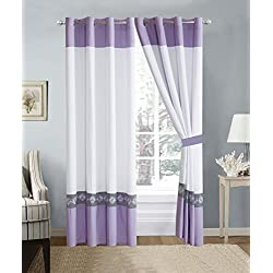 4 Piece Lilac Purple/White/Grey Double-Needle Stitch Pinch Pleat Grommet Window Curtain set 108 x 84-inch, 2 Panels and 2 Ties