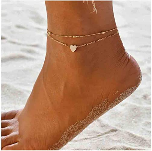 Yfe Minimalist Gold Chain Foot Jewelry Charm Anklets Bracelet for Women and Girls Foot Chain Gold