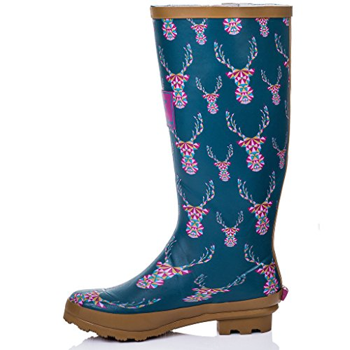 Boots Buckle IGLOO Adjustable Welly Women's SPYLOVEBUY Stag Rain Flat OvH0nU