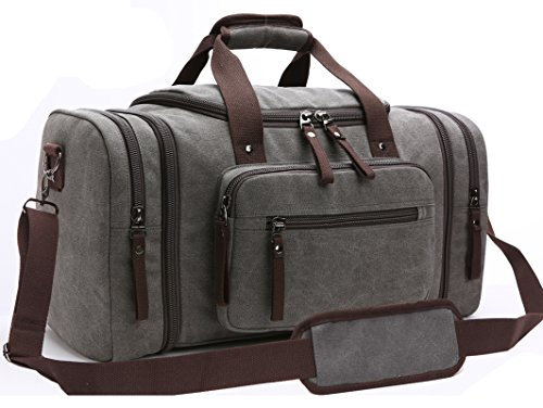 Canvas Duffel Bag, Aidonger Vintage Canvas Weekender Bag Travel Bag Sports Duffel with Shoulder Strap (Gray)