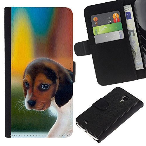 Billetera de Cuero Caso del tirón Titular de la tarjeta Carcasa Funda del zurriago para Samsung Galaxy S4 Mini i9190 MINI VERSION! / Business Style Pocket Beagle Puppy Dog Harrier