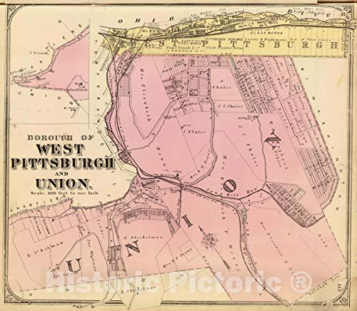 Historic Map | Borough of West Pittsburgh and Union. (1872), 1872 City Atlas | Vintage Wall Art | 30in x 24in