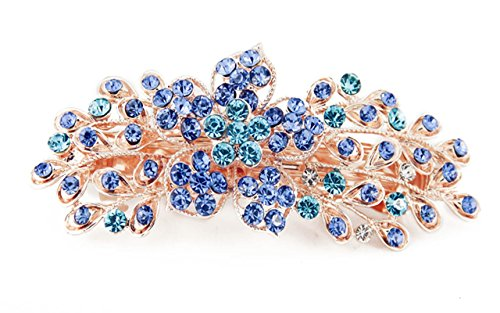 Yeshan Women Rhinestone Crystal beaded Flower Pattern Hair Barrettes Clips,Blue