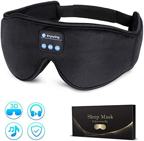 Sleep Headphones,Bluetooth 5.0 Wireless Eye Mask Sleeping Headphones for Side Sleepers,Music Travel Sleep Mask with Ultra Thin Speakers Adjustable Washable