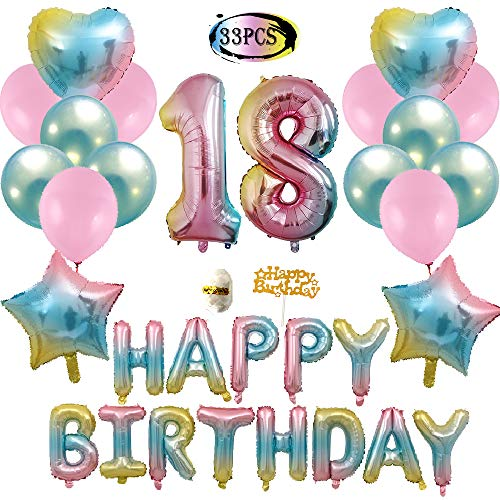 18th Birthday Decorations, Gradient Happy Birthday Foil Balloons, Rainbow Star & Heart Balloons, Pink and Blue Latex Balloons, Birthday Party Balloons ()