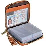 Easyoulife Womens Credit Card Holder Wallet Zip Leather Card Case RFID Blocking (Brown)