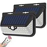 Solar Motion Sensor Wall Lights outdoor Waterproof Wireless Solar Powered Security Light lamp With Remote Control For Porch,Garage,Balcony,Step, Stair, Fence,Yard,Driveway (2 lights with one control)