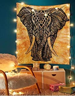 Elephant Tapestry - Small Hippie Mandala Wall Hanging Tapestries Tie Dye Decorative Tablecloth Perfect Christmas Home