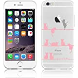 JAMMYLIZARD | Cover custodia in Silicone Trasparente con Sketch per iPhone 6 e 6s, GATTINI