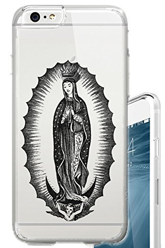 iPhone 6S PLUS Case 5.5 inch The Virgin of Guadalupe Christian Mary Tattoo Clear Translucent Transparent Unique Design Pattern Cover For iPhone 6S PLUS also fits iPhone 6 - Tattoo Mary