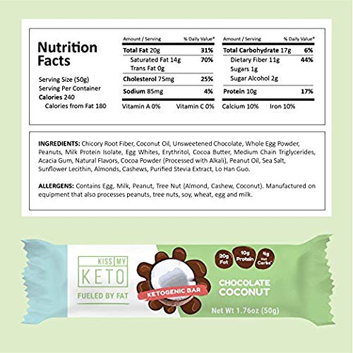 Kiss My Keto Snacks Keto Bars - Keto Chocolate Coconut (3 Pack, 36 Bars), Nutritional Keto Food Bars, Paleo, Low Carb/Glycemic Keto Friendly Foods, All Natural On-The-Go Snacks, 4g Net Carbs by Kiss My Keto (Image #5)