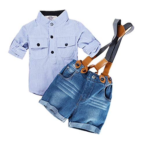 Amberetech Baby Boys Suspender Shorts Set Denim Overalls Outfit Cotton Long Sleeve Blue Stripe Shirt Two-Piece Suits (Blue 1 (Size Runs Small), for 12-24 Months)
