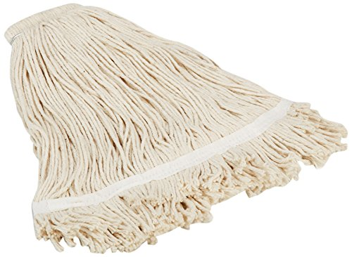 Impact 16124 Layflat Screw Type Cut End Cotton Blend Wet Mop Head, No-Tangle Band, 24 oz, White (Case of 12) by Impact Products