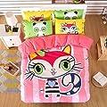 TheFit Paisley Textile Bedding for Adult U413 Pink Cat Duvet Cover Set 100% Cotton, Twin Queen King Set, 3-4 Pieces