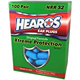 HEAROS Xtreme Foam Earplugs, 32dB NRR Ear Plugs, 100 Pairs, Foam Ear Plugs Noise Reduction & Hearing Protection