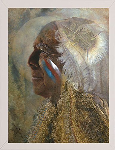 Frame USA Wicasa Wakan (the Holy Man) Framed Print 42.5''x31.5'' by Denton Lund, 42.5x31.5, Affordable White Medium by Frame USA