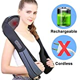 NURSAL Cordless Shoulder Massager Shiatsu Massage with Heat for Neck, Waist and Back, Longer Straps and Rechargeable Battery, Deep-Kneading for Travel Home Office Use