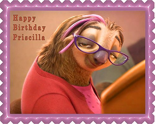 Zootopia (Nr4) Priscilla Sloth - Edible Cake Topper - 10'' x 16'' (1/2 sheet) rectangular