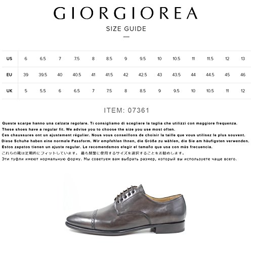 Giorgio Rea Uomo Scarpe Elegante Pelle Derby Cuir Classico Stringato Oxford Brogue Marrone