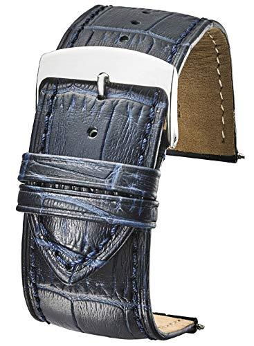 Genuine Alligator Grain Stitched Leather Watch Band (fits Wrist Sizes 6-7 1/2 inch) - Blue - 26mm