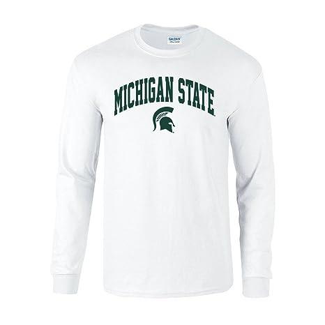829ad8b4e Elite Fan Shop NCAA Michigan State Spartans Men's Long Sleeve Shirt White  Arch, White,