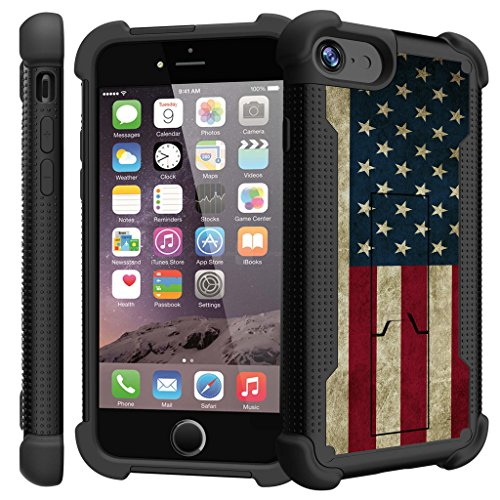 Untouchble Case for Apple iPhone 7| iPhone 7 Bumper Case [Stealth Armor] [Tempered Glass Included] Dual [Kickstand] Case | Hybrid Shock Defender Case - Vintage American Flag