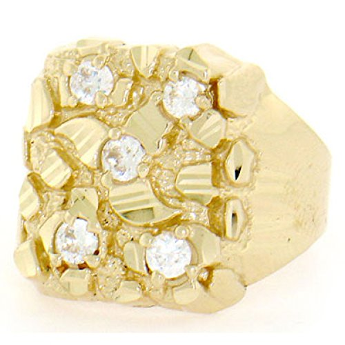 Jewelry Liquidation 10k Solid Yellow Gold Nugget Diamond Cut Mens CZ Ring