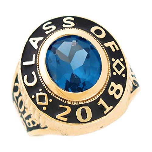 10k Class Ring (10k Gold Simulated December Birthstone 2018 Graduation Mens Class Ring)