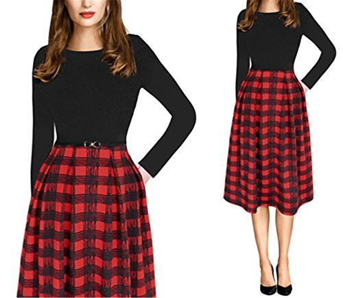 Ivan Johns Dresses Summer Print Belted Tunic Pinup Patchwork Work Office Casual Party A Line Skater Dress 2127 Black Red Tartan 4XL]()