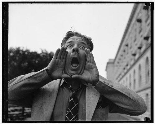 HistoricalFindings Photo: Congressional hog Caller,Capitol Plaza,Otha D Wearin,Yelling,Washington DC,1937