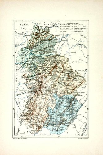 Map Of France Jura.Amazon Com Antique Map Jura France 1885 Lithographic Prints