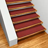 Set of 15 Skid-resistant Carpet Stair Treads - Brick Red - 8 In. X 27 In. - Several Other Sizes to Choose From