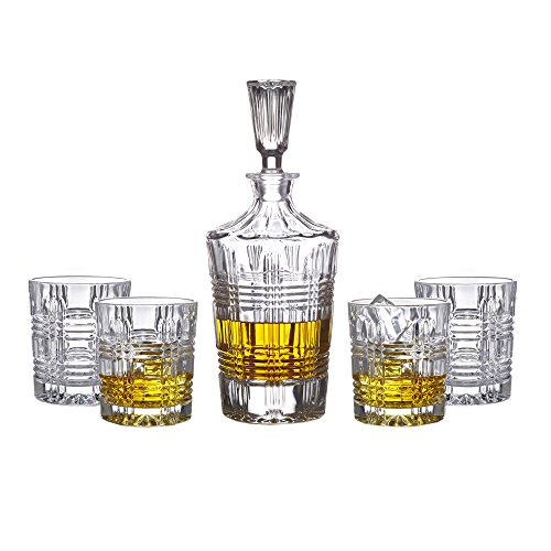 Fitz And Floyd Bridgeport 5-piece Crystal Whiskey Decanter Barware Set With 4 Double Old Fashioned Glasses -