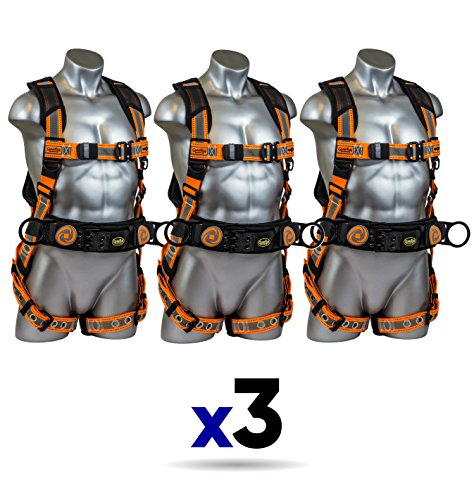 (Guardian Fall Protection 21061 Cyclone Construction Harness Black/Orange, sewn-on Silver Reflective Webbing, QC Chest, TB Waist, TB Legs, Size M-L (3 Pack))