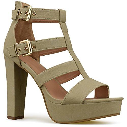 Premier Standard Women's Platform Ankle Strap High Heel - Open Toe Sandal Pump - Formal Party Chunky Dress Heel, TPS Heels-74samoht Beige Size 7 (Heel Strap Chunky Ankle Womens)