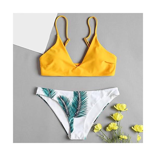 ZAFUL Set Bikini Costume da Bagno da Donna Imbottito Push-up con Stampa a Foglia 2 spesavip