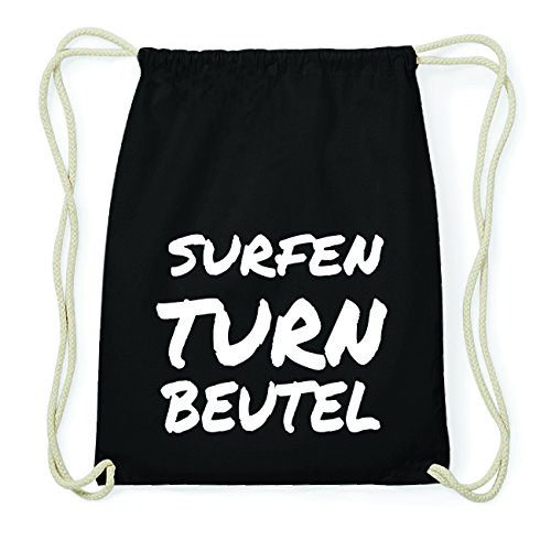 JOllify SURFEN Hipster Turnbeutel Tasche Rucksack aus Baumwolle - Farbe: schwarz Design: Turnbeutel